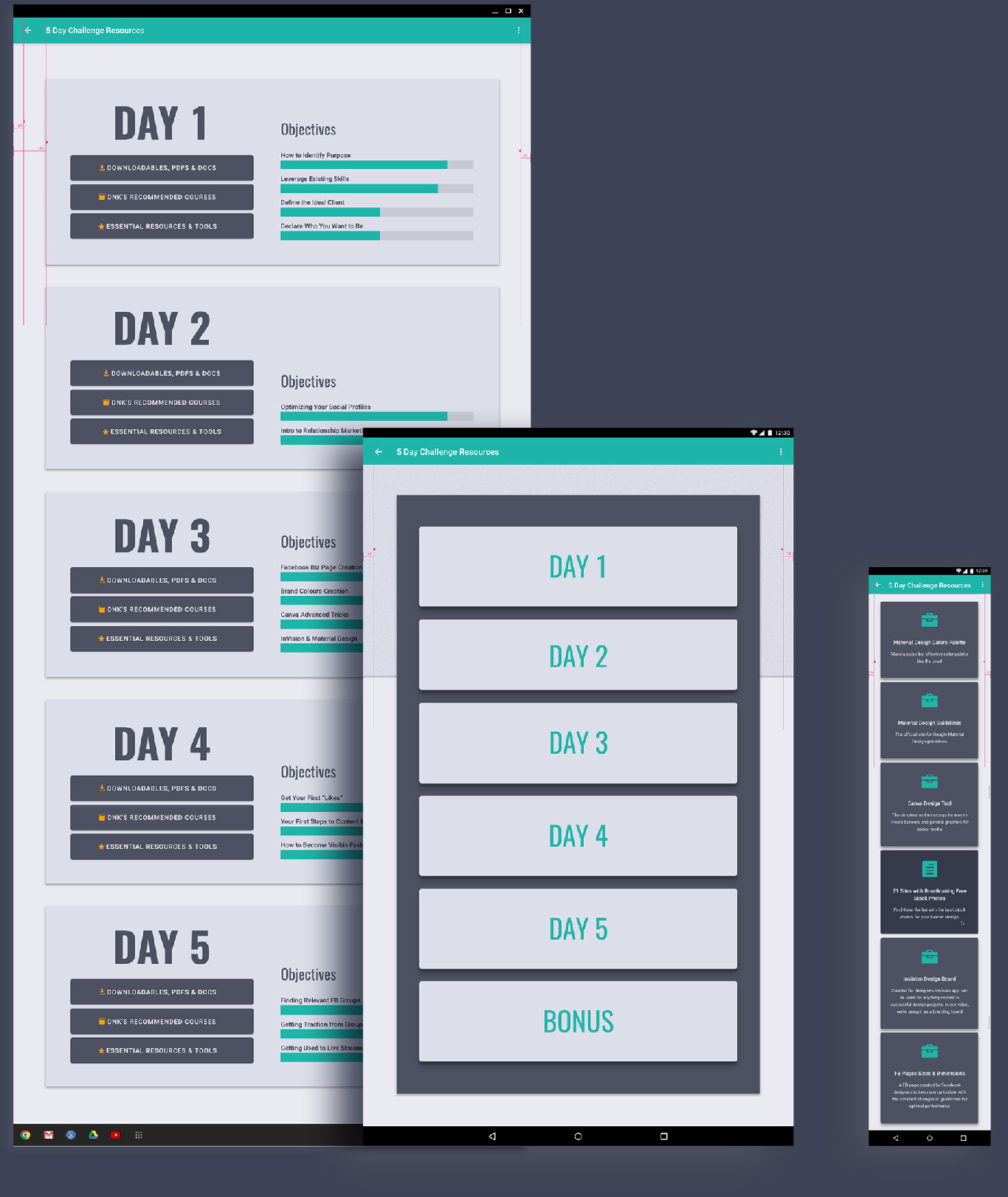 5 Day Challenge Resources Dashboard UI